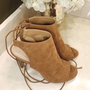 ALDO Tie Up Peep Toe Suede Booties